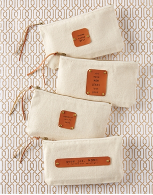 Mom Canvas & Leather Pouches