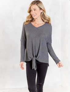 Pepper TIe Grey Top