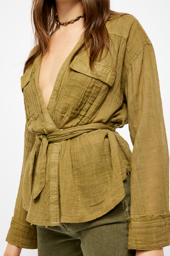 Free People Olive Safari Wrap Top