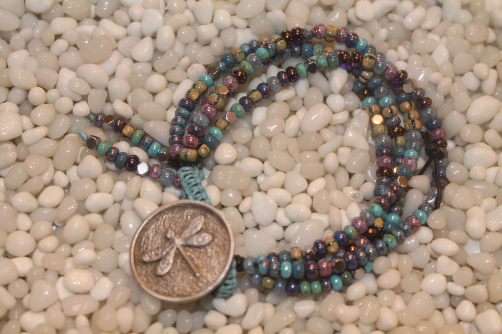 Angeni 4 Strand Beaded Bracelet - Dragon Fly