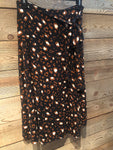 Black Animal Print Wrap Skirt