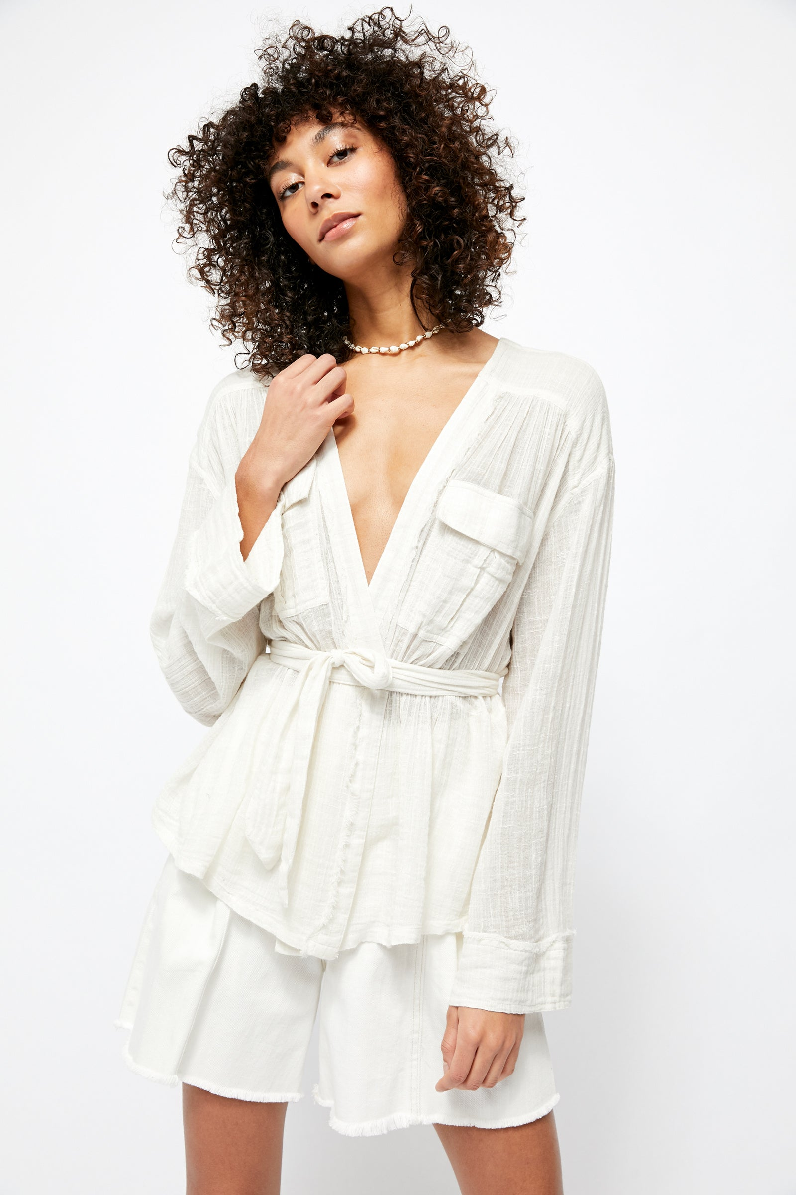 Free People Safari Sheer Wrap Top
