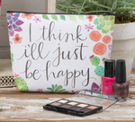 Just Be Happy Zippered Cosmetic Bag