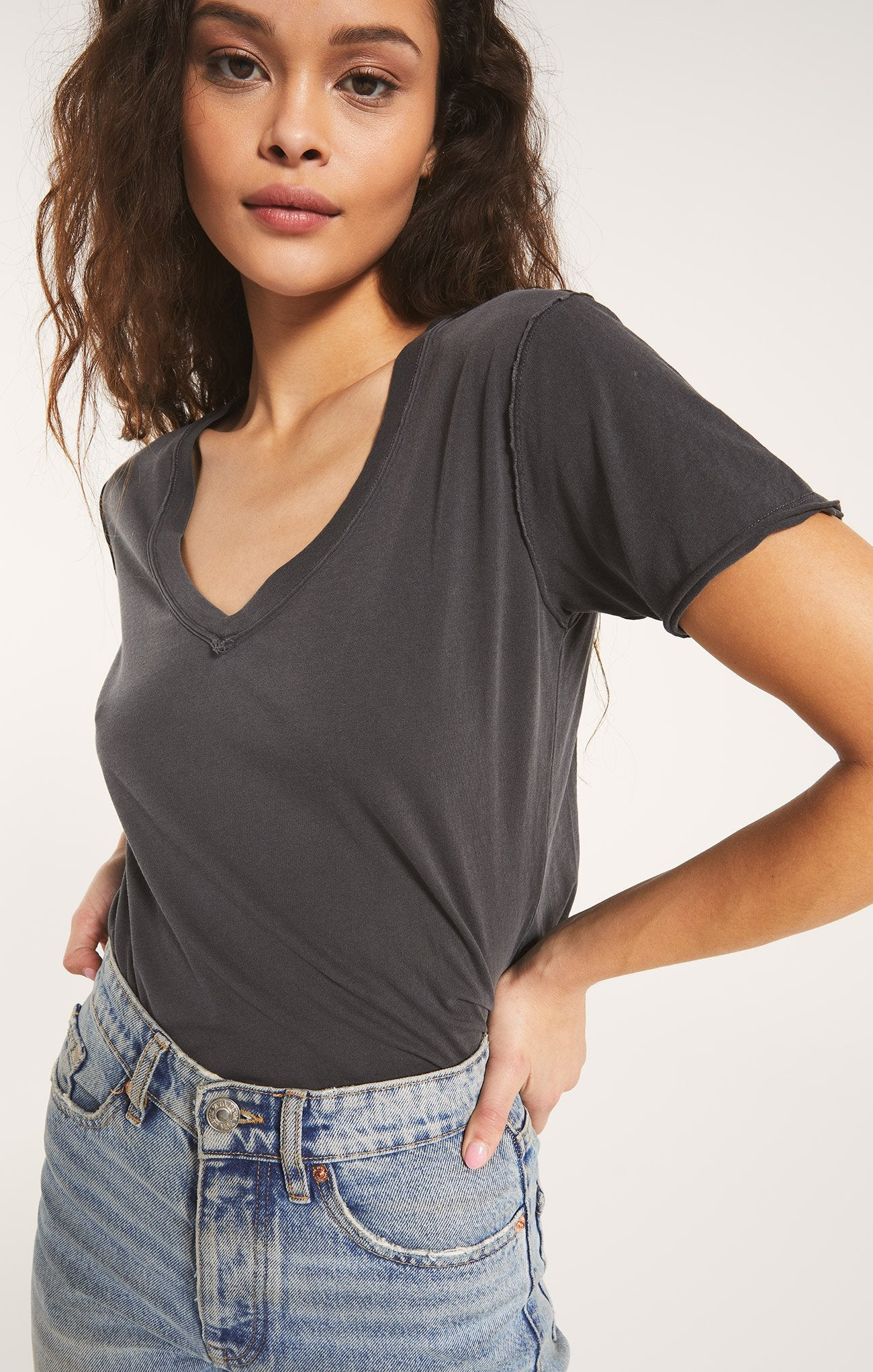 Grey Cotton VNeck Tee