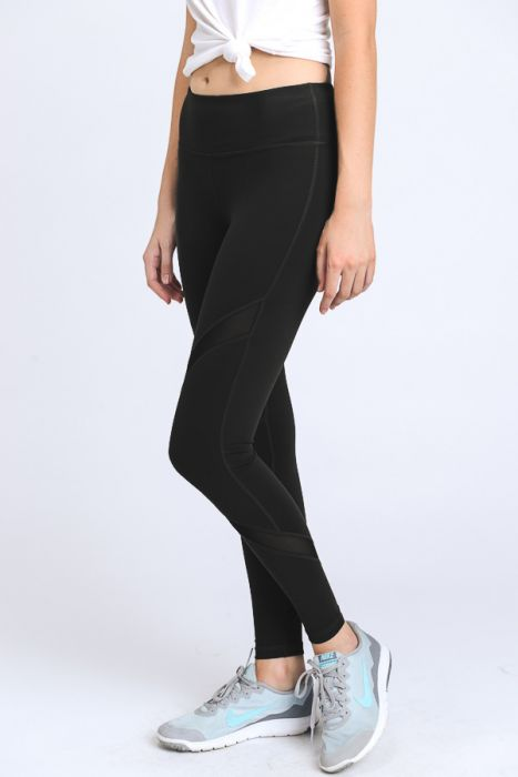 Cross Mesh Black Legging