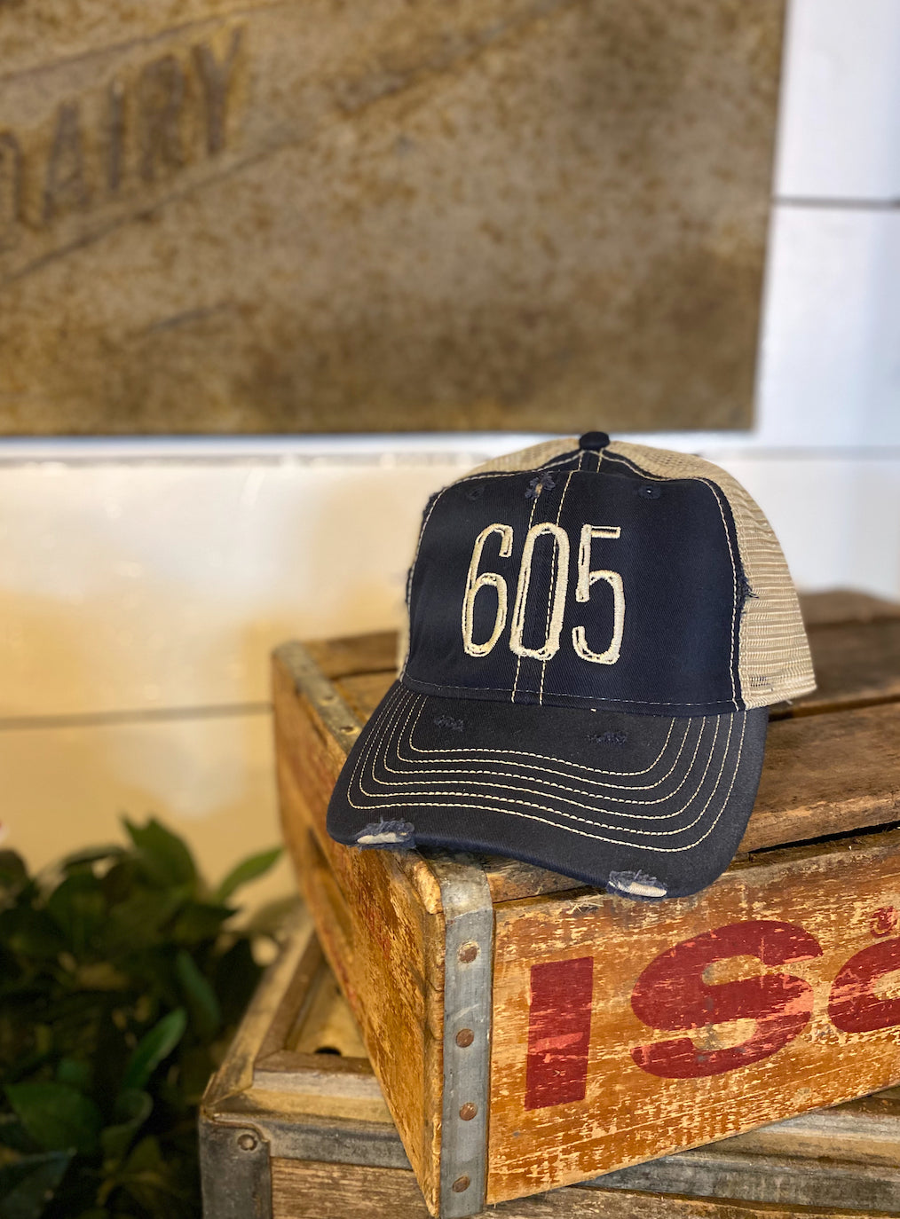 Distressed 605 Hat Navy