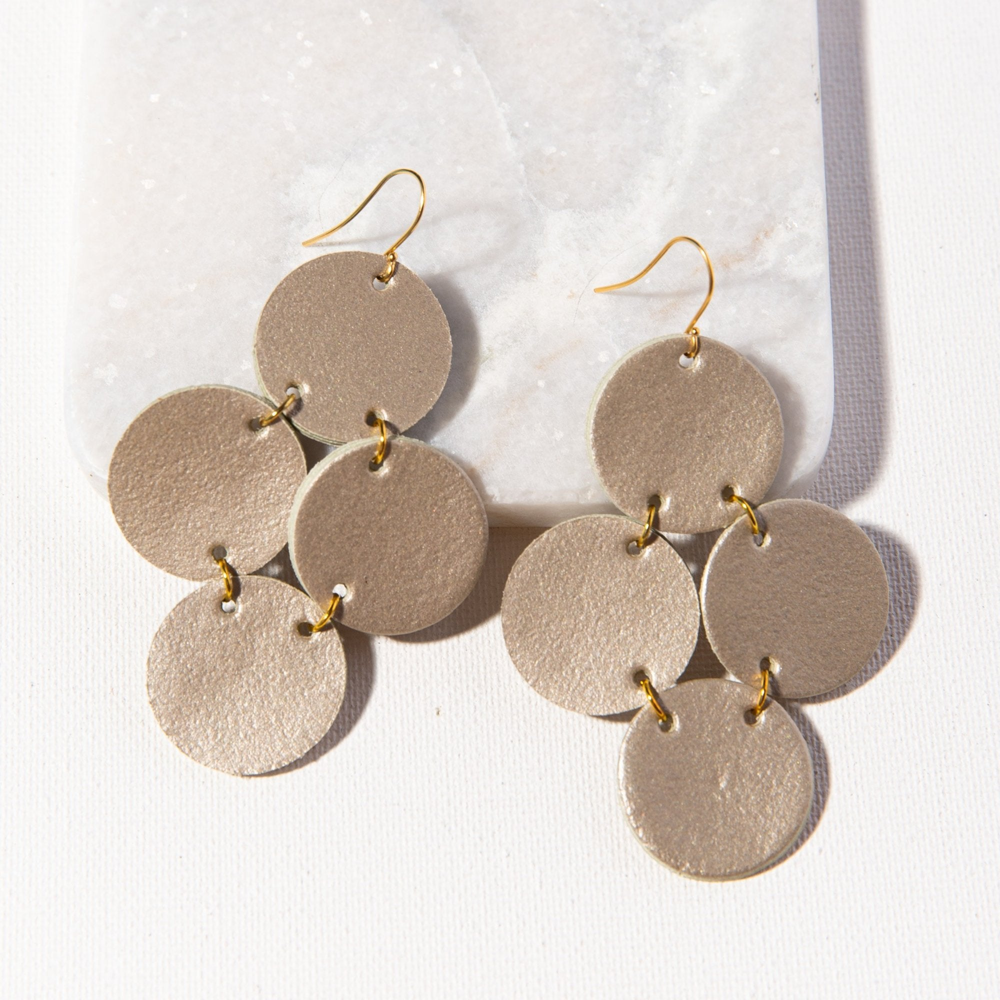 Champagne Leather Circle Earring