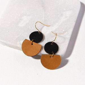 Black Circle Camel Half Circle Leather Earring