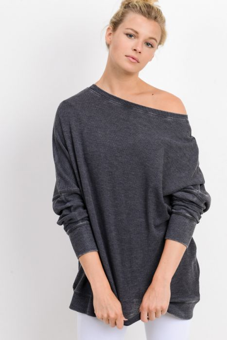 Waffle Ribbed Pullover