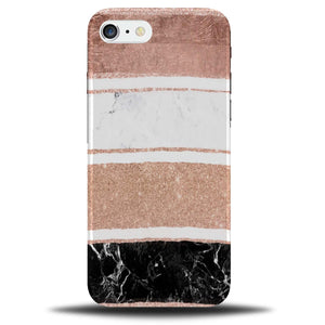 pretty nice 9ef36 42cc0 Rose Gold White and Black Glitter Marble Effect Phone Case Cover | A617