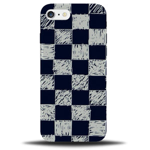 size 40 7d118 3a363 Cartoon Drawing Of Chequered Pattern Phone Case Cover   Chess Design Navy  B731