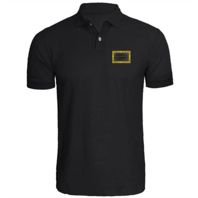HAMMERS BLACK POLO WITH BLACK LEATHER DETAILS