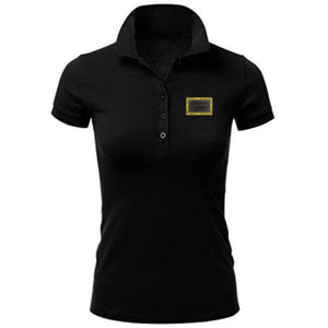 HAMMERS LADIES BLACK POLO WITH BLACK LEATHER DETAILS