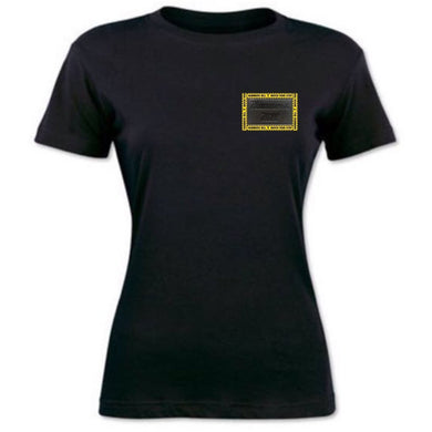 HAMMERS LADIES BLACK T-SHIRT WITH BLACK LEATHER DETAILS