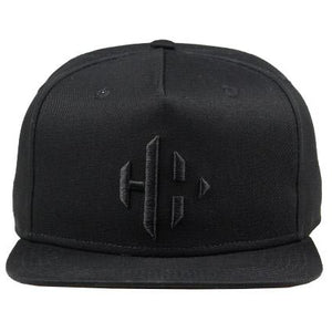 BLACK CAP WITH BLACK EMBROIDERED LOGO