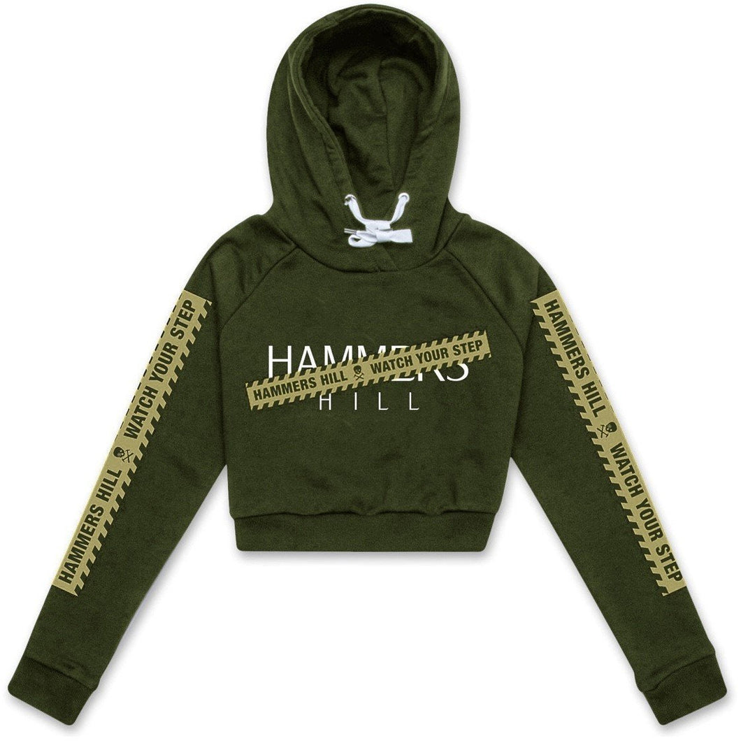 HAMMERS TAPE CROPPED HOODIE - KHAKI ON KHAKI
