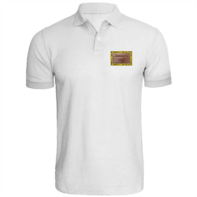 HAMMERS WHITE POLO WITH BROWN LEATHER DETAILS