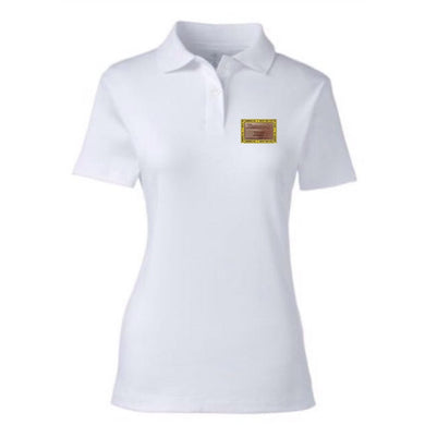 HAMMERS LADIES WHITE POLO WITH BROWN LEATHER DETAILS