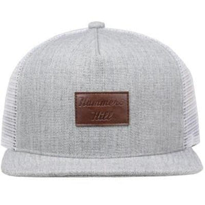 GREY CAP WITH BROWN LEATHER - cap