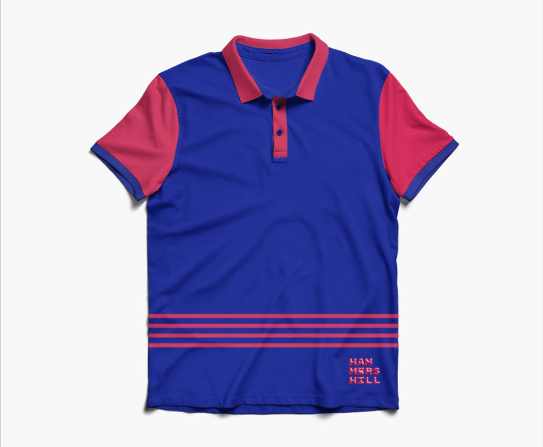 HAMMERS POLO SHIRT -  NAVY WITH EMBROIDERED DETAILS