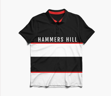 HAMMERS POLO SHIRT -  BLACK WITH RED & WHITR EMBROIDERED DETAILS