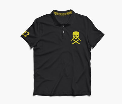 HAMMERS POLO SHIRT - BLACK WITH YELLOW EMBROIDERED DETAILS