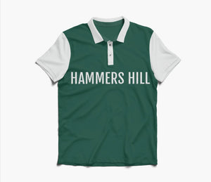 HAMMERS POLO SHIRT - GREEN WITH WHITE EMBROIDERED DETAILS