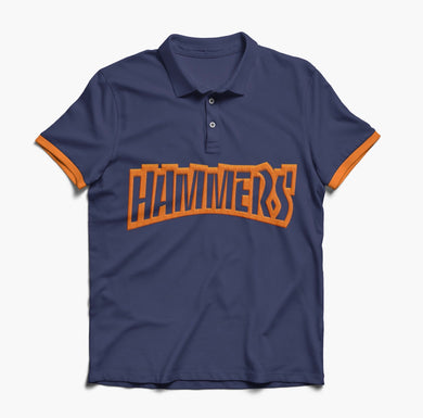 HAMMERS POLO SHIRT - NAVY WITH ORANGE EMBROIDERED DETAILS