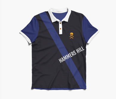 HAMMERS POLO SHIRT - BLACK WITH BLUE & WHITE EMBROIDERED DETAILS