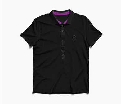 HAMMERS POLO SHIRT - BLACK WITH EMBROIDERED & PURPLE DETAILS