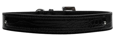 Dog Collar 18mm Two Tier Faux Croc Collar Black Large-Dog Collar-Pristine Pups
