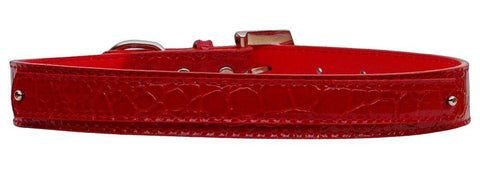 Dog Collar 18Mm Two Tier Faux Croc Collar Red Medium-Dog Collar-Pristine Pups