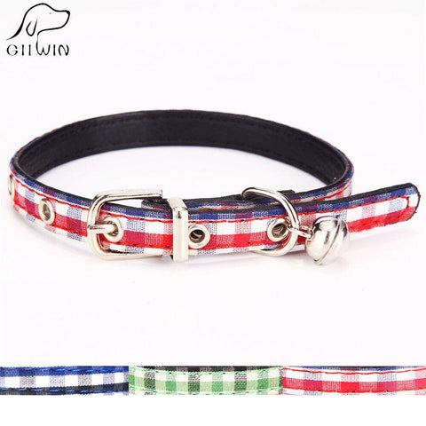 Adjustable Pu Leather Collar For Small Pet Dog Cat Bell Plaid Leash Head Collars For Puppy Chihuahua-Pristine Pups