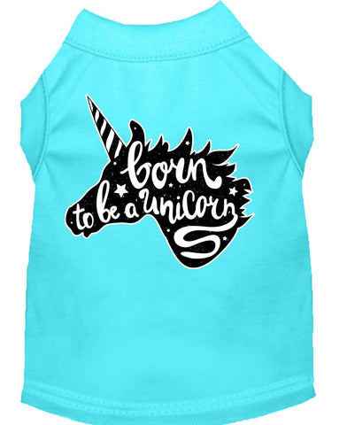 Born To Be A Unicorn Screen Print Dog Shirt Aqua Sm (10)-Dog Shirts-Pristine Pups