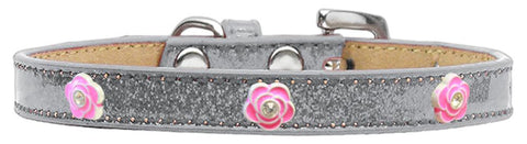 Bright Pink Rose Widget Dog Collar Silver Ice Cream Size 20-Pristine Pups