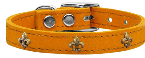 Bronze Fleur De Lis Widget Genuine Leather Dog Collar Mandarin 24-Pristine Pups