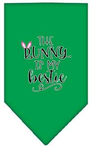 Bunny Is My Bestie Screen Print Bandana Emerald Green Large-Pristine Pups
