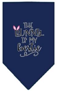 Bunny Is My Bestie Screen Print Bandana Navy Blue Large-Pristine Pups