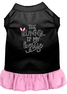 Bunny Is My Bestie Screen Print Dog Dress Black With Light Pink Xl (16)-Pristine Pups