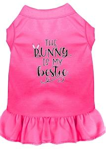 Bunny Is My Bestie Screen Print Dog Dress Bright Pink Med (12)-Pristine Pups