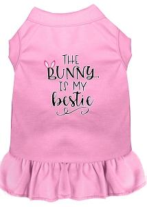 Bunny Is My Bestie Screen Print Dog Dress Light Pink Med (12)-Pristine Pups