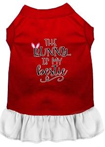 Bunny Is My Bestie Screen Print Dog Dress Red With White Lg (14)-Pristine Pups