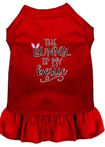 Bunny Is My Bestie Screen Print Dog Dress Red Xs (8)-Pristine Pups