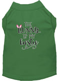 Bunny Is My Bestie Screen Print Dog Shirt Green Xs (8)-Dog Shirts-Pristine Pups