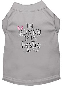 Bunny Is My Bestie Screen Print Dog Shirt Grey Xs (8)-Dog Shirts-Pristine Pups