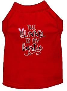 Bunny Is My Bestie Screen Print Dog Shirt Red Med (12)-Dog Shirts-Pristine Pups