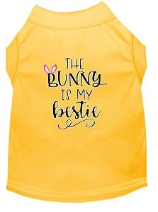 Bunny Is My Bestie Screen Print Dog Shirt Yellow Xs (8)-Dog Shirts-Pristine Pups