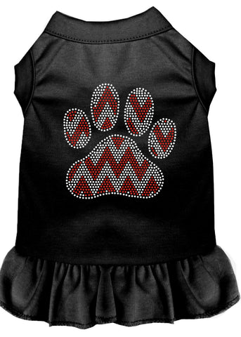 Candy Cane Chevron Paw Rhinestone Dog Dress Black Med (12)-Pristine Pups