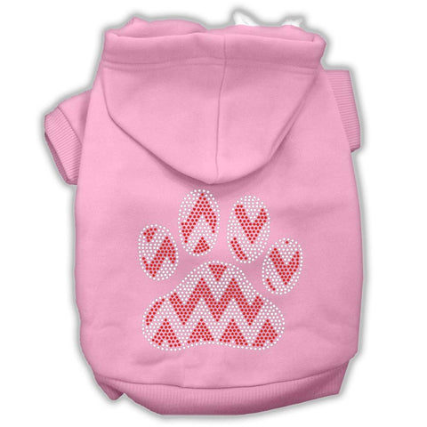 Candy Cane Chevron Paw Rhinestone Dog Hoodie Light Pink Xs (8)-Pristine Pups