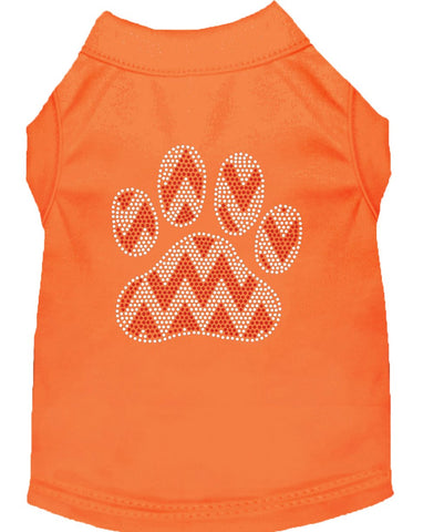Candy Cane Chevron Paw Rhinestone Dog Shirt Orange Lg (14)-Dog Shirts-Pristine Pups